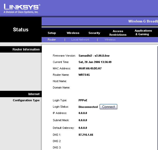 el linksys wrt54g: